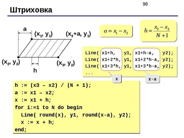 Штриховка (x1, y1) (x2, y2) (x3, y2) a h (x3+a, y1) Line( x1+h, y1, x1+h-a, y...