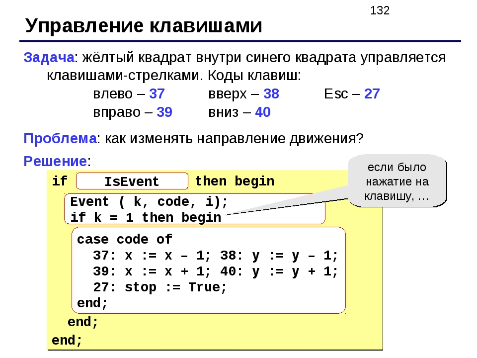 Управление клавишами Задача: жёлтый квадрат внутри синего квадрата управляетс...