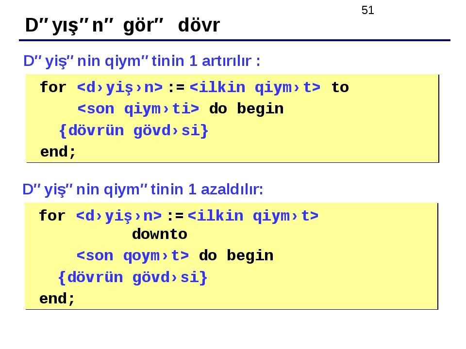 Dəyışənə görə dövr for  :=  to  do begin {dövrün gövdəsi} end; Dəyişənin qiy...