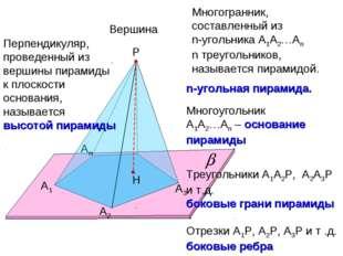 А1 А2 Аn Р А3 Многогранник, составленный из n-угольника А1А2…Аn n треугольник