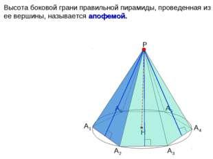 Высота боковой грани правильной пирамиды, проведенная из ее вершины, называет