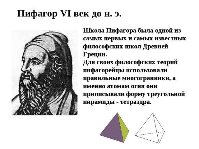 Пифагор VI век до н. э. Школа Пифагора была одной из самых первых и самых изв...