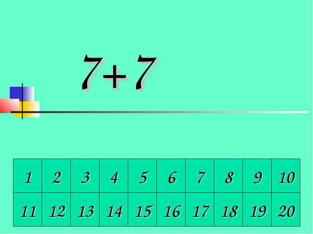 1 2 3 4 5 6 7 8 9 10 11 12 13 14 15 16 17 18 19 20 7+7