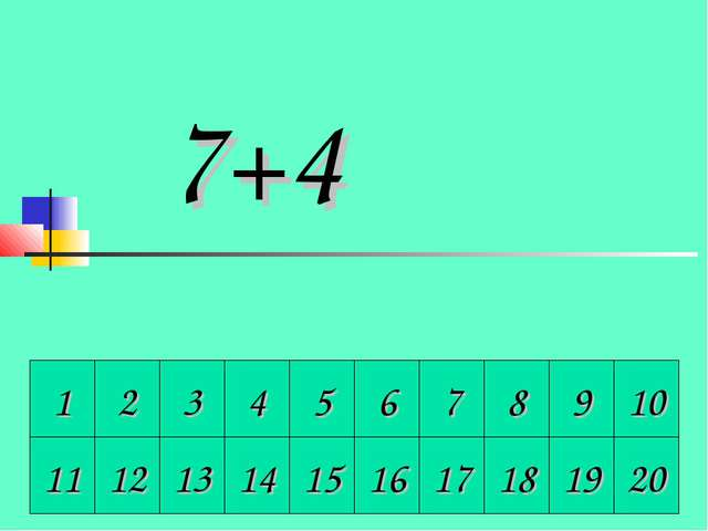 1 2 3 4 5 6 7 8 9 10 11 12 13 14 15 16 17 18 19 20 7+4