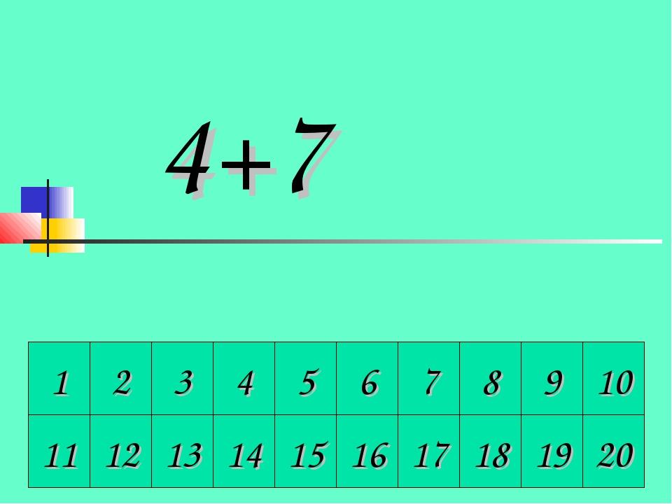 1 2 3 4 5 6 7 8 9 10 4+7 11 12 13 14 15 16 17 18 19 20