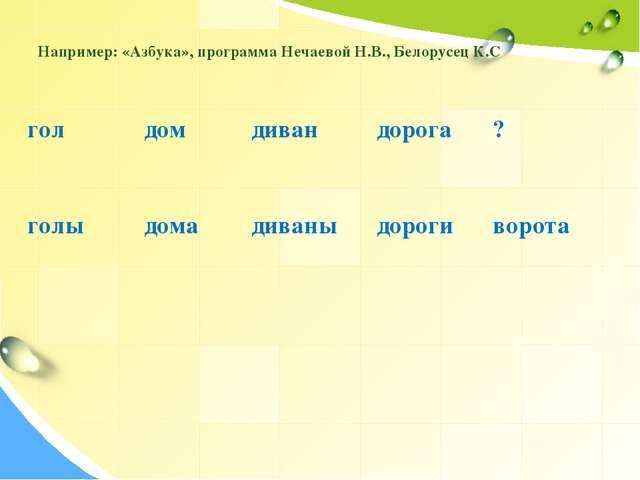 Например: «Азбука», программа Нечаевой Н.В., Белорусец К.С голдом дивандор...