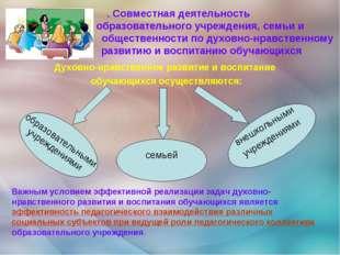 . Совместная деятельность образовательного учреждения, семьи и общественности