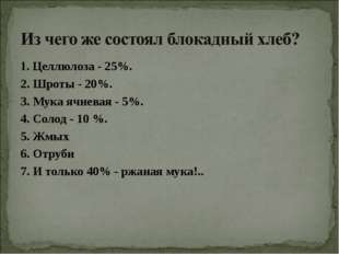 1. Целлюлоза - 25%. 2. Шроты - 20%. 3. Мука ячневая - 5%. 4. Солод - 10 %. 5.