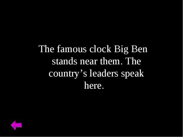 The famous clock Big Ben stands near them. The country's leaders speak here.