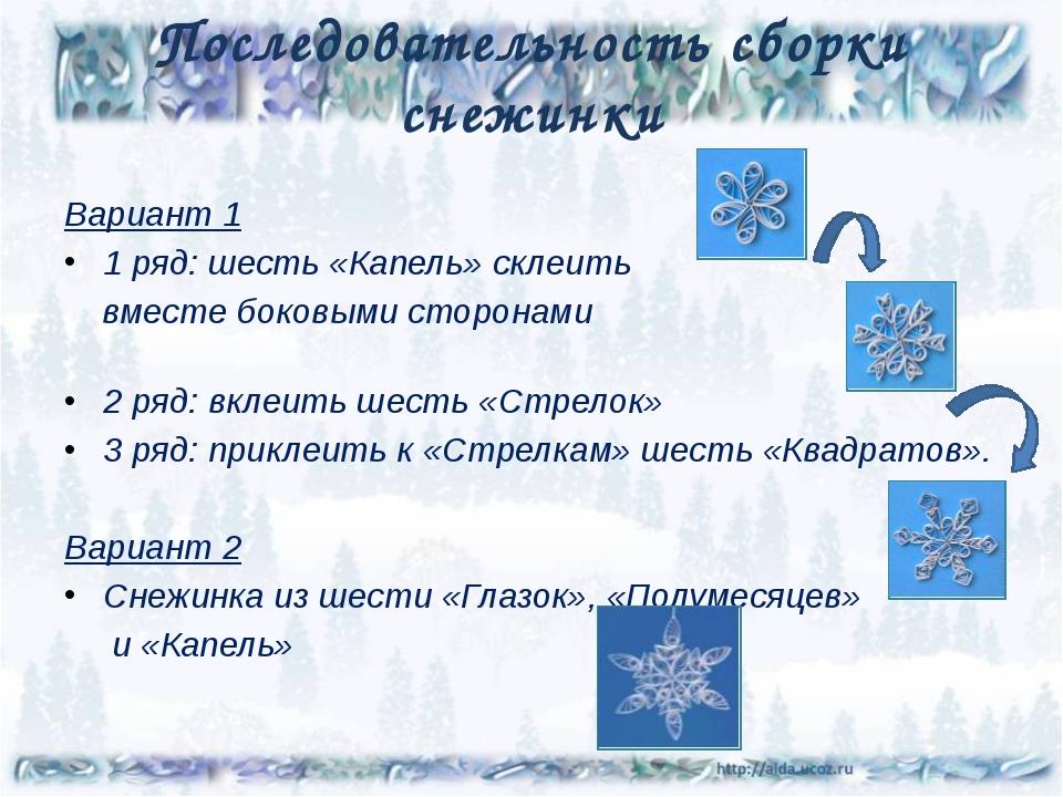 Последовательность сборки снежинки Вариант 1 1 ряд: шесть «Капель» склеить вм...