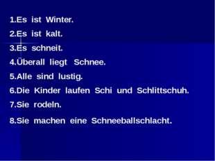 1.Es ist Winter. 2.Es ist kalt. 3.Es schneit. 4.Überall liegt Schnee. 5.Alle