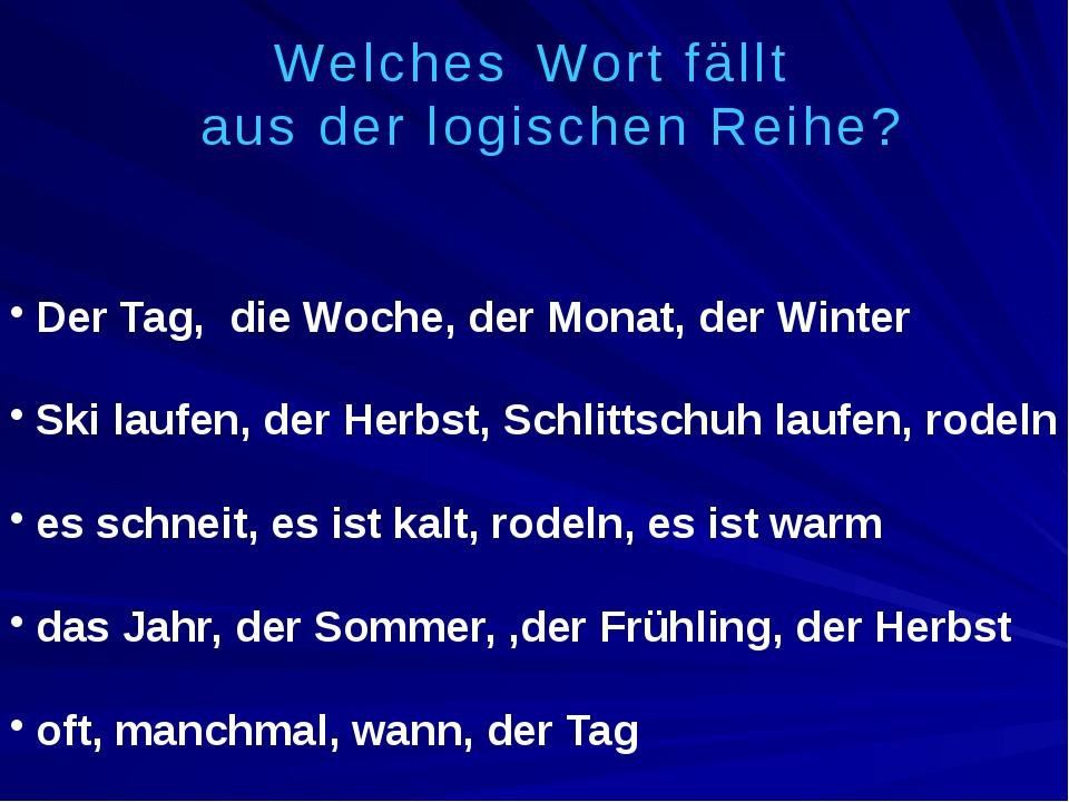 Der Tag, die Woche, der Monat, der Winter Ski laufen, der Herbst, Schlittschu...