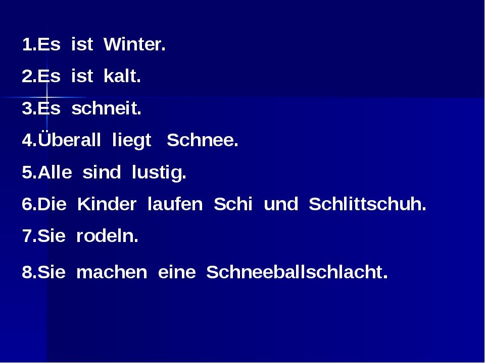 1.Es ist Winter. 2.Es ist kalt. 3.Es schneit. 4.Überall liegt Schnee. 5.Alle...