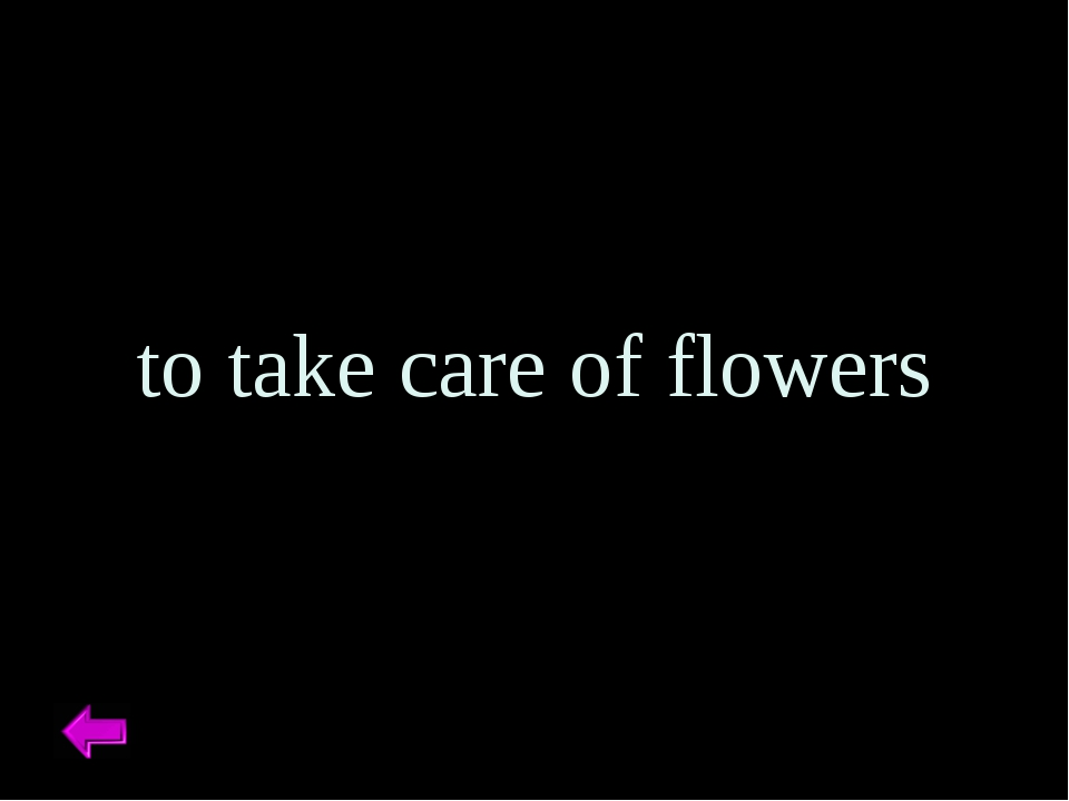 to take care of flowers