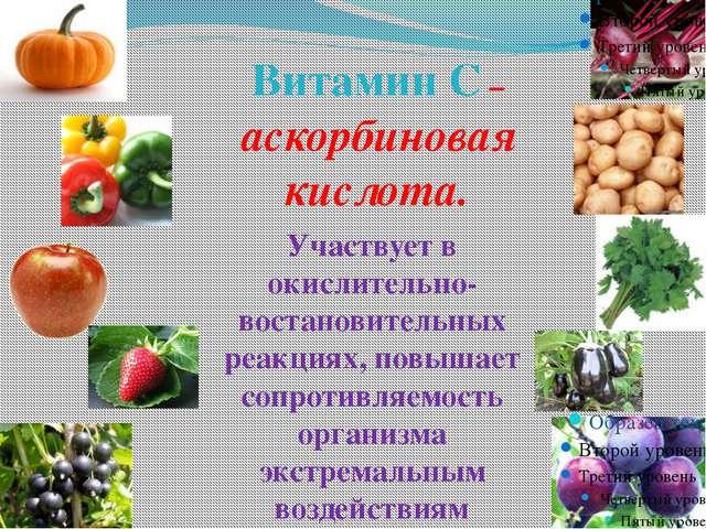 Витамин С – аскорбиновая кислота. Участвует в окислительно-востановительных...