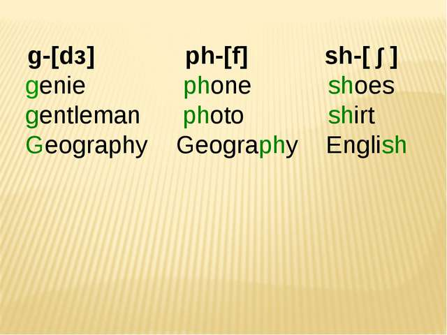 g-[dз] ph-[f] sh-[ ∫ ] genie phone shoes gentleman photo shirt Geography Geo...