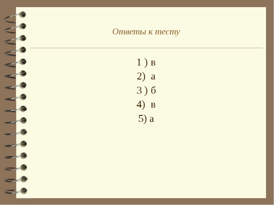1 ) в 2) а 3 ) б 4) в 5) а Ответы к тесту