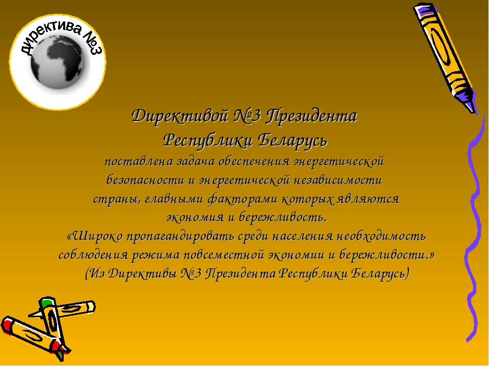 Директивой № 3 Президента Республики Беларусь поставлена задача обеспечения э...