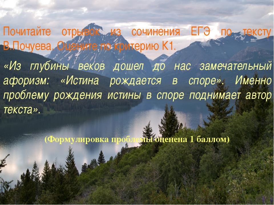 (Формулировка проблемы оценена 1 баллом) Почитайте отрывок из сочинения ЕГЭ п...
