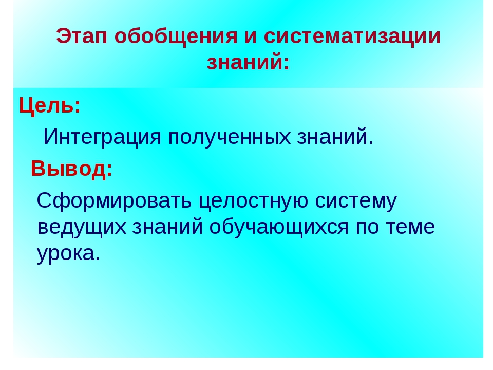 Этап обобщения и систематизации знаний: Цель: Интеграция полученных знаний....