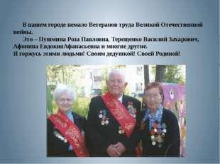 В нашем городе немало Ветеранов труда Великой Отечественной войны. Это – Пуш