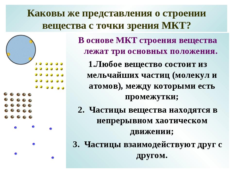 Каковы же представления о строении вещества с точки зрения МКТ? В основе МКТ...