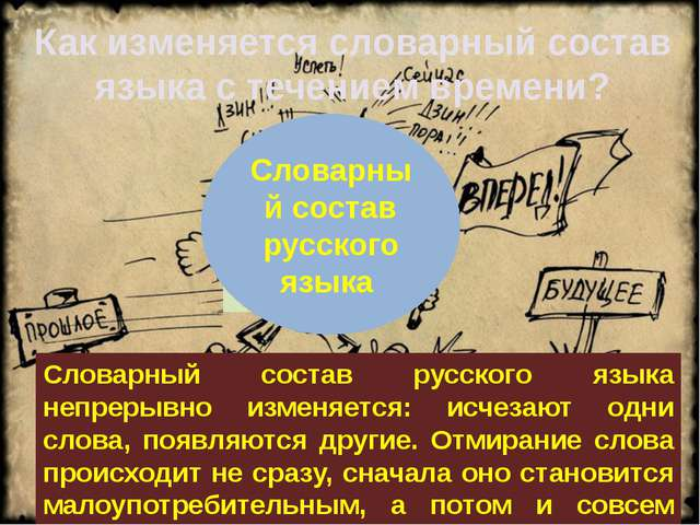Новые слова Малоупотребительные слова -устаревшие Словарный состав русского...