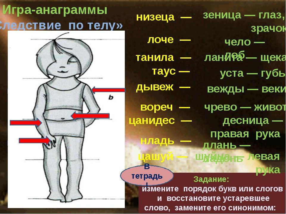 лоче — танила — Игра-анаграммы «Следствие по телу» Задание: измените порядок...