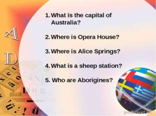 What is the capital of Australia? Where is Opera House? Where is Alice Spring