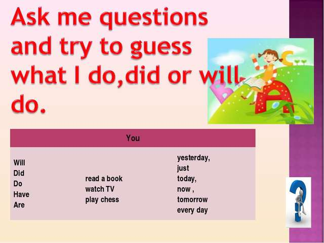 You Will Did Do Have Are  read a book watch TV play chessyesterday, just t...