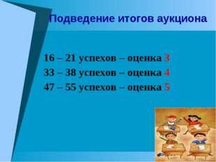 16 – 21 успехов – оценка 3 33 – 38 успехов – оценка 4 47 – 55 успехов – оценк