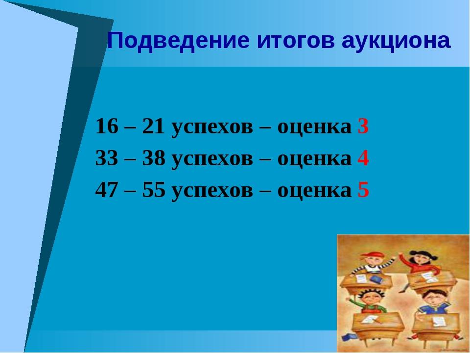 16 – 21 успехов – оценка 3 33 – 38 успехов – оценка 4 47 – 55 успехов – оценк...