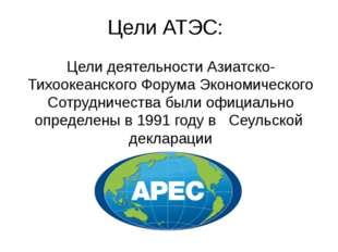 Цели АТЭС: Цели деятельности Азиатско-Тихоокеанского Форума Экономического Со