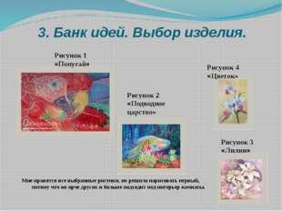 3. Банк идей. Выбор изделия. Рисунок 1 «Попугай» Рисунок 2 «Подводное царство