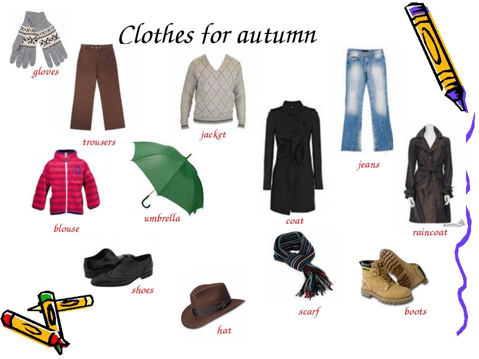 Clothes for autumn trousers jacket jeans blouse umbrella coat raincoat shoes...