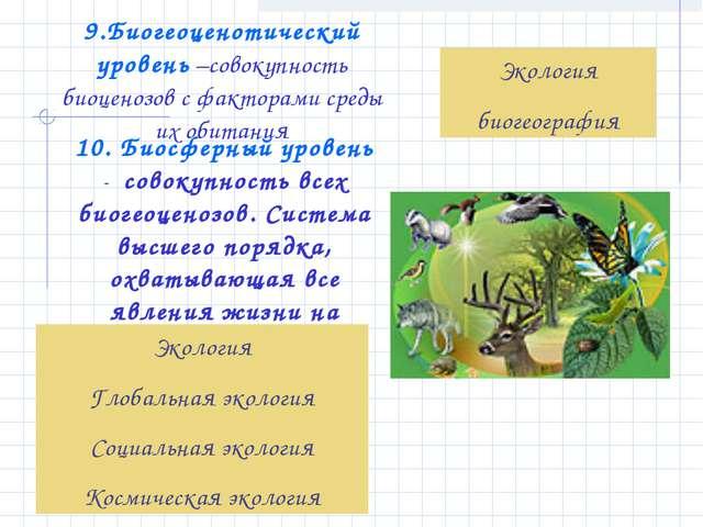 9.Биогеоценотический уровень –совокупность биоценозов с факторами среды их об...