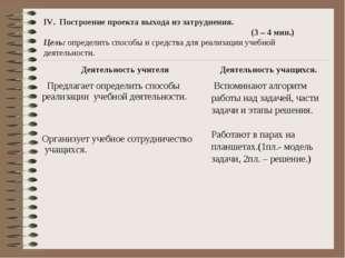 IV. Построение проекта выхода из затруднения. (3 – 4 мин.) Цель: определить