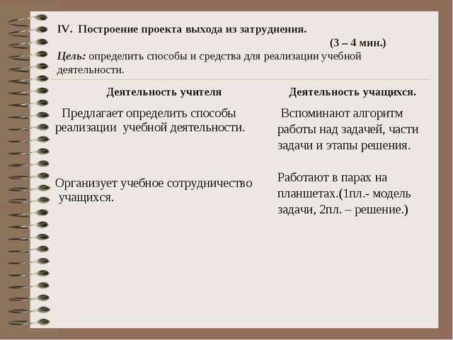 IV. Построение проекта выхода из затруднения. (3 – 4 мин.) Цель: определить...