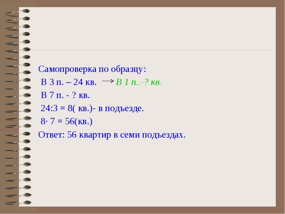 Самопроверка по образцу: В 3 п. – 24 кв. В 1 п..-? кв. В 7 п. - ? кв. 24:3 =...