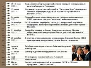 18 -21 мая 1973 г.Глава советского руководства Брежнев посещает с официальны