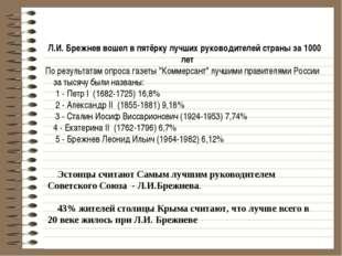 Эстонцы считают Самым лучшим руководителем Советского Союза - Л.И.Брежнева.