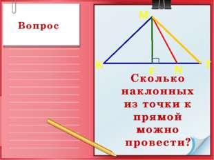 Сколько наклонных из точки к прямой можно провести? Вопрос K T F N M
