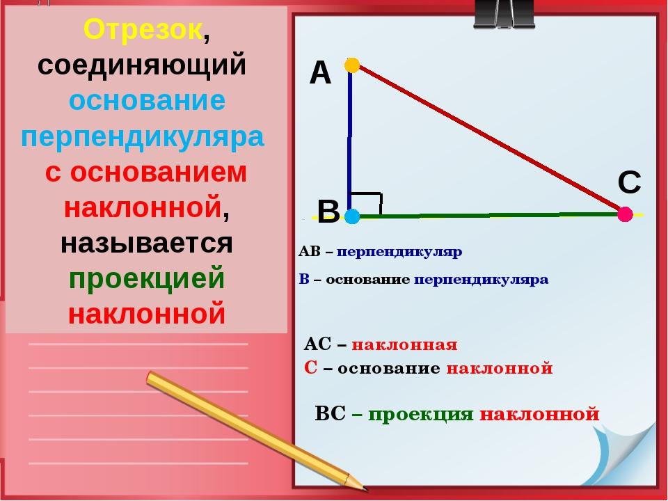 Определение АВ – перпендикуляр В – основание перпендикуляра В А С Отрезок, со...