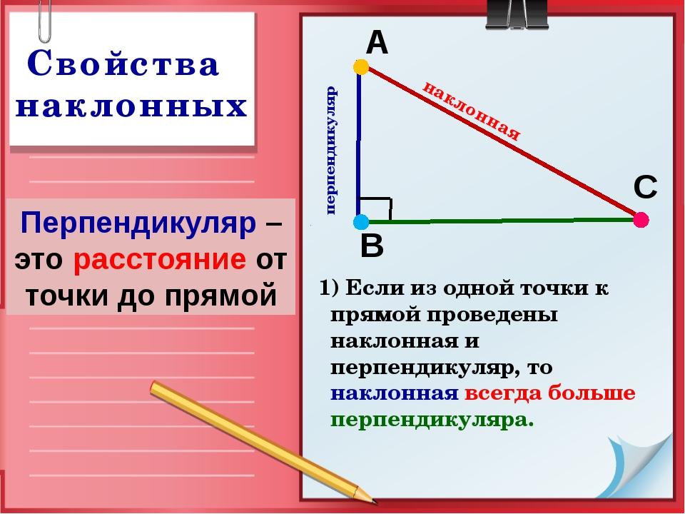перпендикуляр В А С наклонная 1) Если из одной точки к прямой проведены накл...