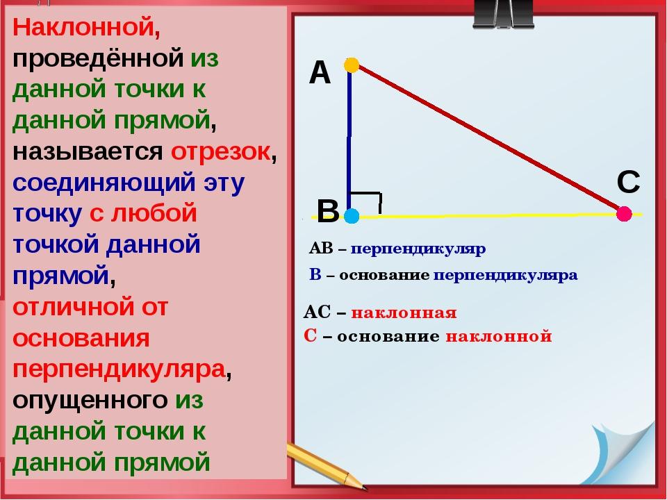 Определение АВ – перпендикуляр В – основание перпендикуляра В А С Наклонной,...