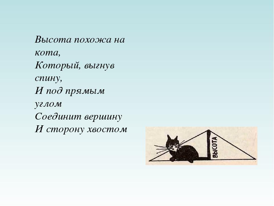 Высота похожа на кота, Который, выгнув спину, И под прямым углом Соединит вер...