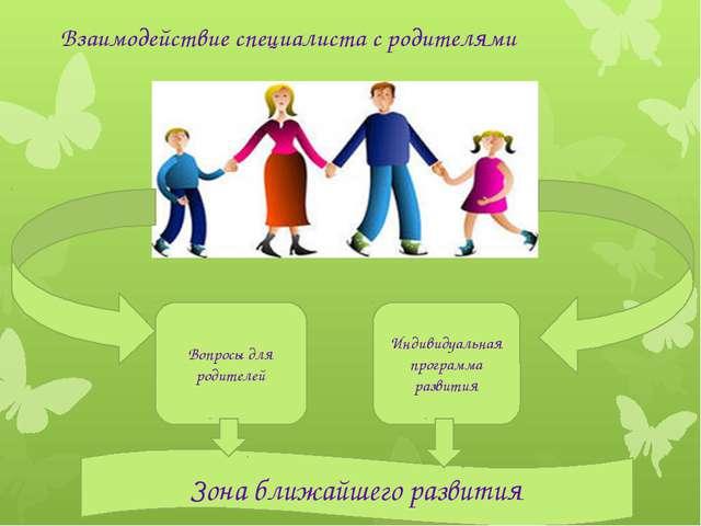Взаимодействие специалиста с родителями Вопросы для родителей Индивидуальная...