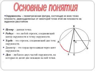Центр – данная точка. Радиус – это любой отрезок, соединяющий центр окружност
