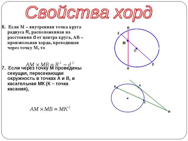 6. Если М – внутренняя точка круга радиуса R, расположенная на расстоянии d о...