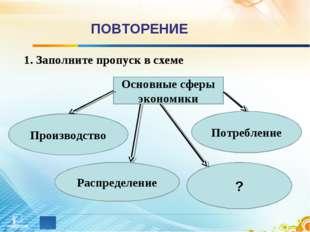ПОВТОРЕНИЕ 1. Заполните пропуск в схеме Основные сферы экономики Распределени